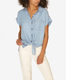 Sanctuary Mod Tie-Front Short-Sleeve Shirt