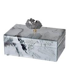 White Marbled Jewelry Case, Medium