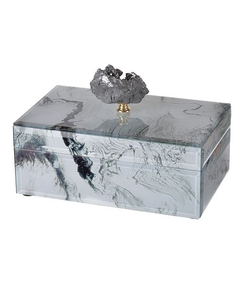 AB Home White Marbled Jewelry Case, Medium