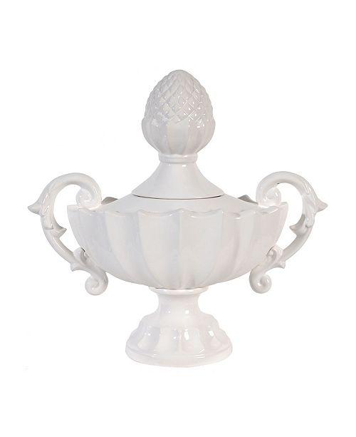 AB Home Nera Porcelain Decorative Handled Jar, Medium