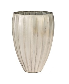 Wide and Tall Vase with A Shiny Pearly White Finish