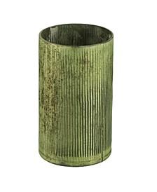 Tall and Wide Vase In Papaya Green Metallic Finish
