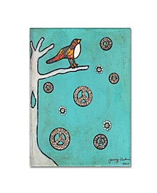 "Tammy Kushnir 'Peace Sign Bird' Canvas Art - 24"" x 18"" x 2"""