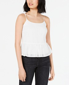 Bar III Eyelet-Lace Peplum Top, Created for Macy's