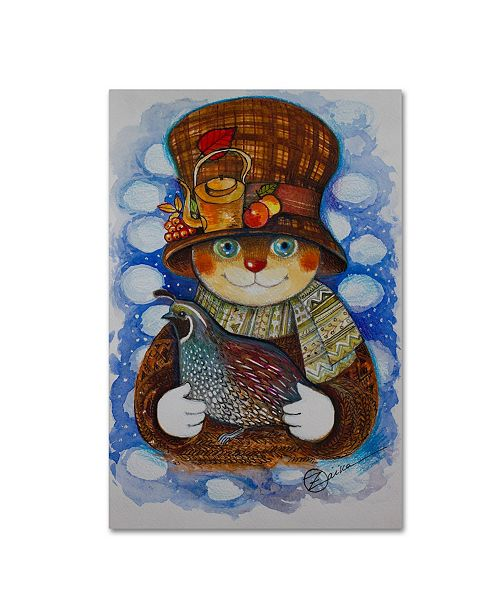 "Trademark Global Oxana Ziaka 'Autumn Cat With Quail' Canvas Art - 19"" x 12"" x 2"""