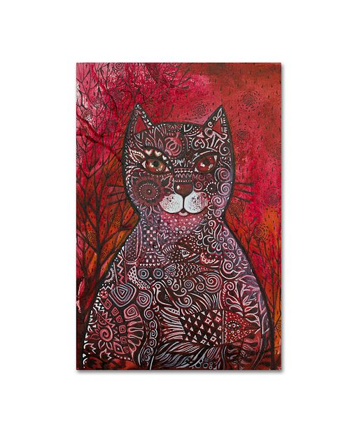 "Trademark Global Oxana Ziaka 'Red Cat 4' Canvas Art - 47"" x 30"" x 2"""