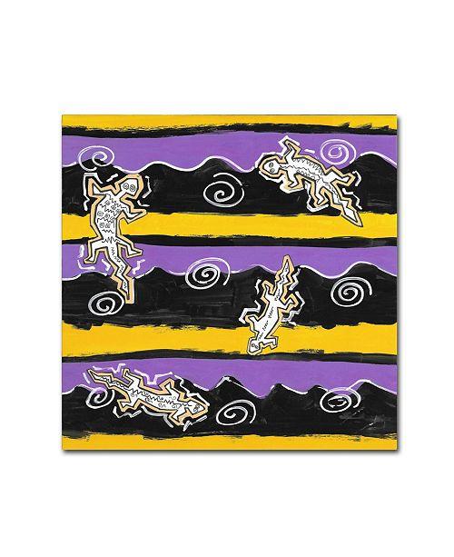 """Trademark Global Miguel Balbas 'Pattern Lizards 1' Canvas Art - 14"""" x 14"""" x 2"""""""