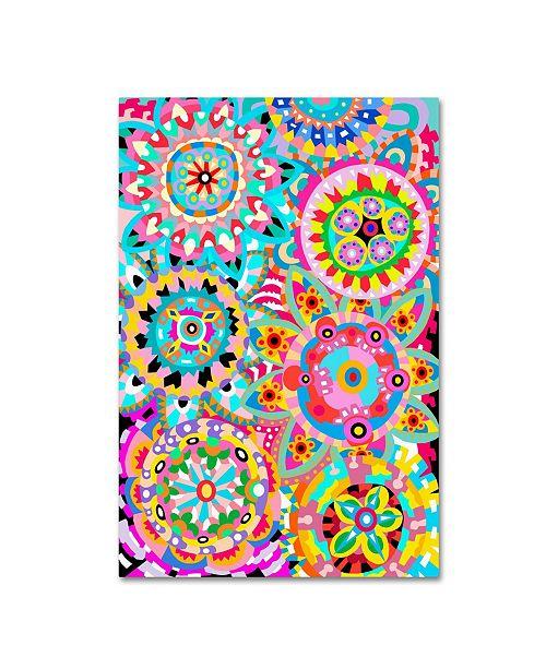 "Trademark Global Miguel Balbas 'Pattern Flowers 1' Canvas Art - 32"" x 22"" x 2"""