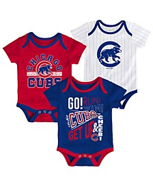 Baby Chicago Cubs Newest Rookie 3 Piece Bodysuit Set