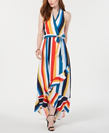 julia jordan Striped High-Low Maxi Dress