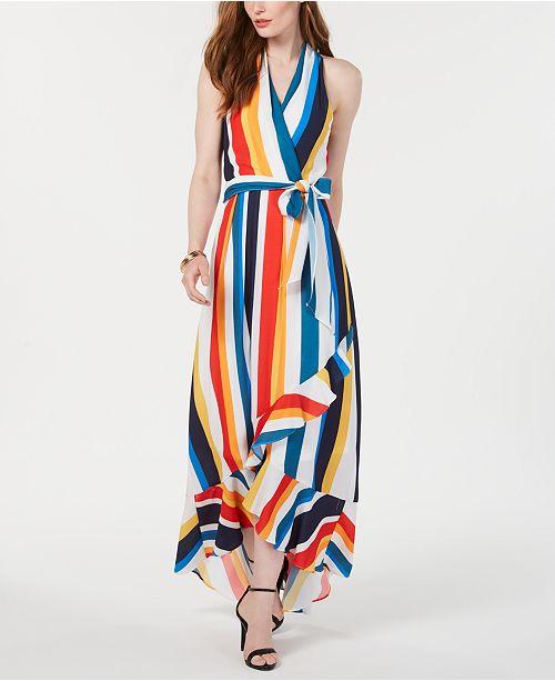julia jordan Striped High-Low Maxi Dress