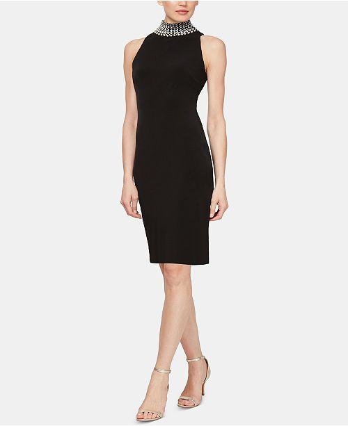 SL Fashions Embellished Mock-Neck Dress