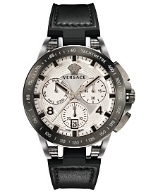 Versace Men's Swiss Chronograph Sport Tech Black Rubber Strap Watch 45mm