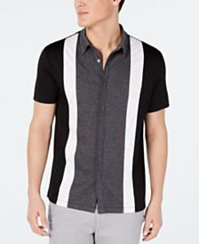 Alfani Men's Regular-Fit Stretch Pieced Colorblocked Shirt, Created for Macy's