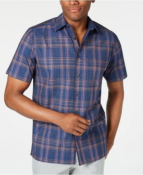 Tasso Elba Men's Stretch Geo Plaid Shirt, Created for Macy's