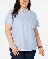 17f30850 Tommy Hilfiger Plus Size Cotton Dot-Print Camp Shirt