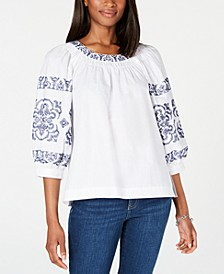 Embroidered Cotton Peasant Top, Created for Macy's