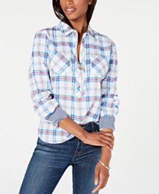 Tommy Hilfiger Popover Zip-Neck Plaid Top