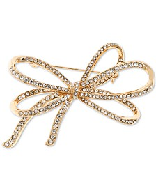 Anne Klein Gold-Tone Pavé Bow Pin, Created for Macy's