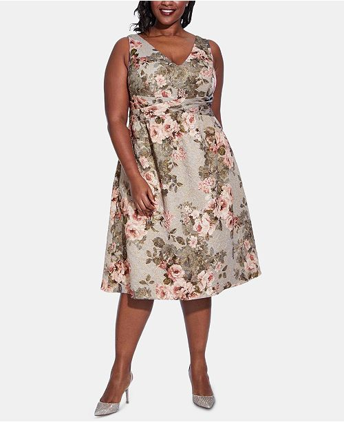 Adrianna Papell Plus Size Textured Floral-Print A-Line Dress