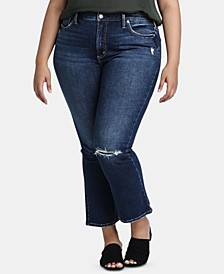 Trendy Plus Size Ripped Bootcut Jeans