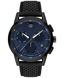 Movado Men's Swiss Chronograph Museum Black Perforated Leather Strap Watch 43mm