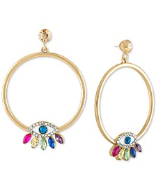 "RACHEL Rachel Roy Gold-Tone Multicolor Crystal Evil Eye Drop Extra-Large 2-1/4"" Hoop Earrings"