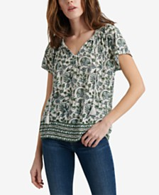 Lucky Brand Border Print Smocked Top