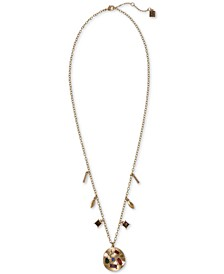 "Gold-Tone Multicolor Crystal Charm Pendant Necklace, 24"" + 2"" extender"