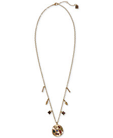 "Laundry by Shelli Segal Gold-Tone Multicolor Crystal Charm Pendant Necklace, 24"" + 2"" extender"