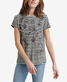 Lucky Brand Striped Embroidered T-Shirt