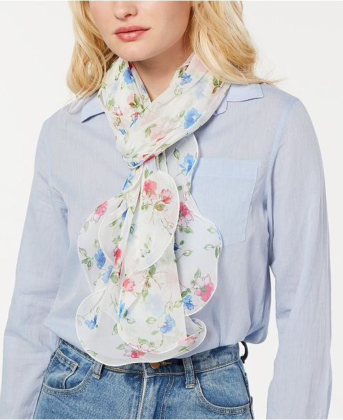 Lauren Ralph Lauren Larene Flower-Print Silk Chiffon Scarf