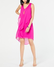 I.N.C. High-Low Flutter Necklace Dress, Created for Macy's