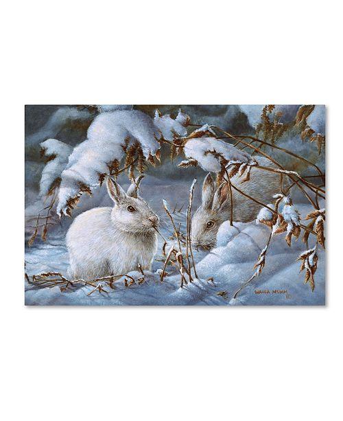 "Trademark Global Wanda Mumm 'Winter Hares' Canvas Art - 24"" x 16"" x 2"""