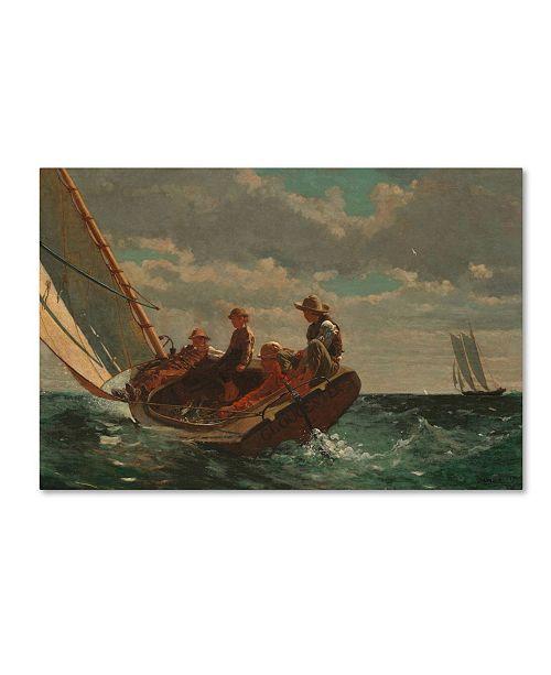 """Trademark Global Winslow Homer 'Breezing Up (A Fair Wind) 1873-76' Canvas Art - 32"""" x 22"""" x 2"""""""