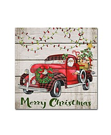 "Jean Plout 'Vintage Christmas Truck 3' Canvas Art - 14"" x 14"" x 2"""