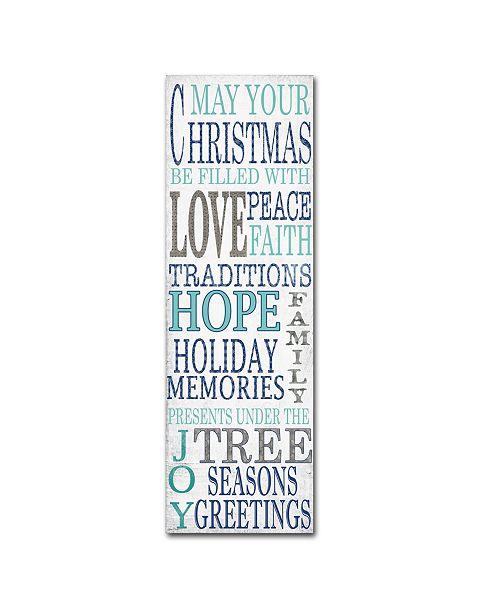 "Trademark Global Jean Plout 'Hope Blue Christmas' Canvas Art - 19"" x 6"" x 2"""