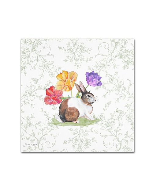"""Trademark Global Jean Plout 'Bunnies In The Tulips 4' Canvas Art - 35"""" x 35"""" x 2"""""""