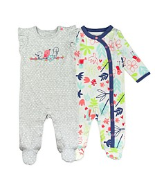 Mac and Moon 2-Pack Long Sleeve and Flutter Sleeve Footed Sleep and Play