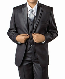 Solid Peak Lapel 2 Button Vested Boys Suit, 5 Piece