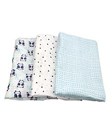 Mac and Moon 3-Pack Panda Print Muslin Swaddles