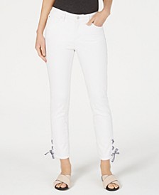 Gingham Lace-Up Skinny Jeans, Created for Macy's