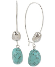 Robert Lee Morris Soho Silver-Tone Bead & Stone Drop Earrings