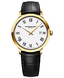 Men's Swiss Toccata Black Leather Strap Watch 39mm