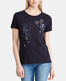 Lauren Ralph Lauren Petite Embroidered T-Shirt