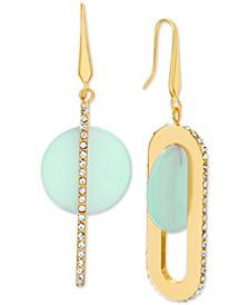 Gold-Tone Pavé & Disc Oval Drop Earrings