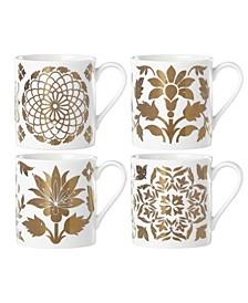 Global Tapestry Gold  Set/4 Dessert Mugs
