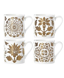 Lenox Global Tapestry Gold  Set/4 Dessert Mugs