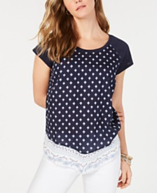 Style & Co Mixed-Print Cap-Sleeve Top, Created for Macy's