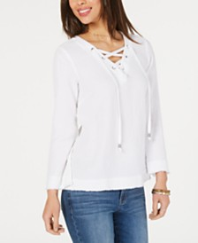 Style & Co Cotton Lace-Up Textured Top, Created for Macy's